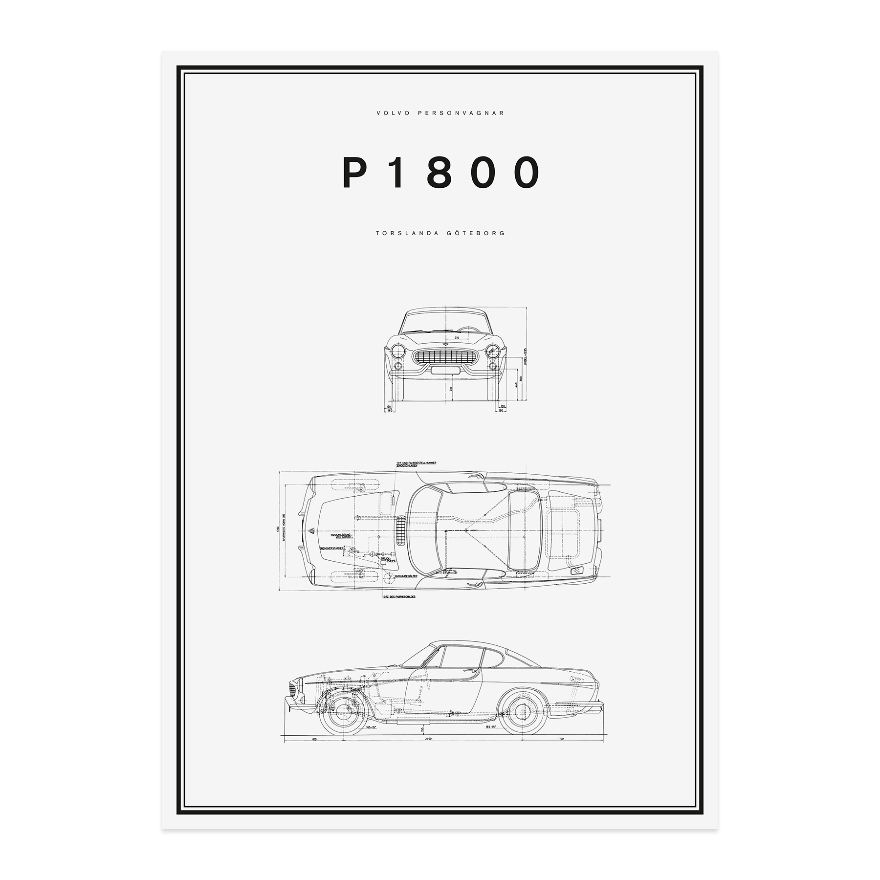 p1800 line drawing poster